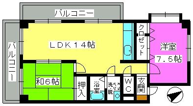 グリーンハイツ三浦 / 303号室間取り