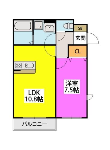 グランメゾン井尻 / 201号室間取り