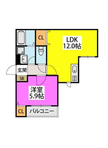 グランメゾン井尻 / 203号室間取り