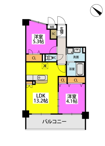 ※グランパル博多 / 402号室間取り