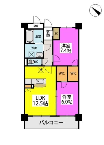 ※グランパル博多 / 603号室間取り
