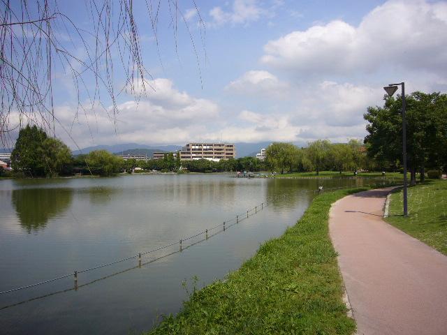 親水溜池(公園です)の周辺に建物があります。ウォーキング・ジョギング等が楽しめます。