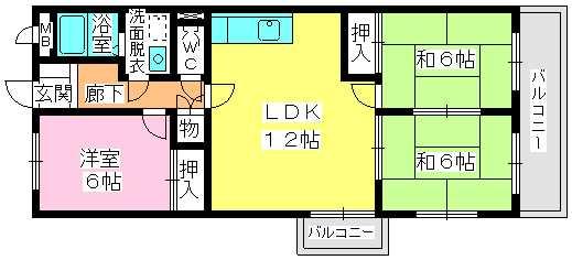 サンシャイン三苫 / 201号室間取り