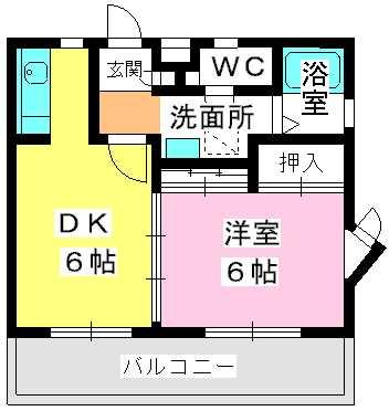 エクシード唐原 / 201号室間取り