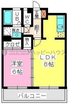 ヴィンテージ唐原 / 1-203号室間取り