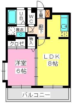ヴィンテージ唐原 / 2-201号室間取り