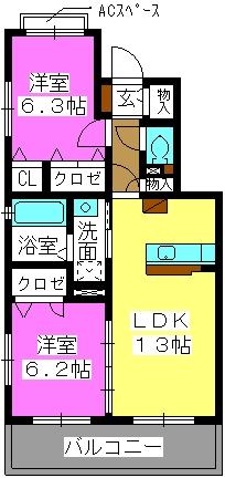 マガール21 / A-202号室間取り