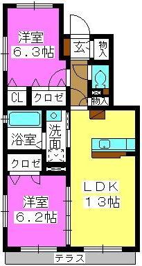 マガール21 / B-102号室間取り