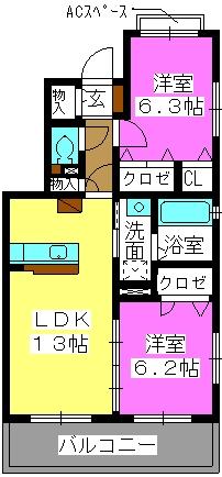 マガール21 / B-201号室間取り