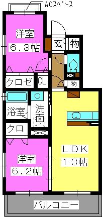 マガール21 / C-203号室間取り