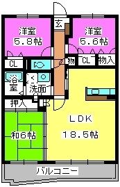 八景館 / 203号室間取り
