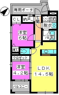 ビ・ザ・ビ・ランドⅡ(ペット共生) / E-102号室間取り