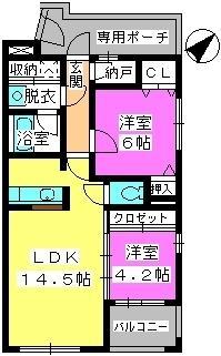 ビ・ザ・ビ・ランドⅡ(ペット共生) / E-301号室間取り