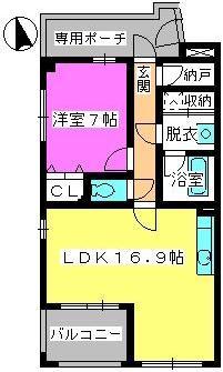 ビ・ザ・ビ・ランドⅡ(ペット共生) / N-102号室間取り