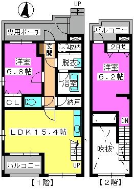 ビ・ザ・ビ・ランドⅡ(ペット共生) / W-105号室間取り