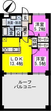 ビ・ザ・ビ・ランド(ペット共生) / 206号室間取り