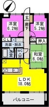 ビ・ザ・ビ・ランド(ペット共生) / 301号室間取り