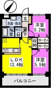 ビ・ザ・ビ・ランド(ペット共生) / 303号室間取り