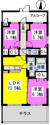 グランシャリオ古賀駅前 / 103号室間取り