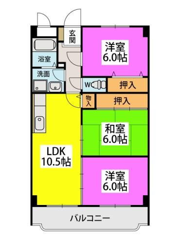 エクセレント塩浜Ⅱ / 502号室間取り