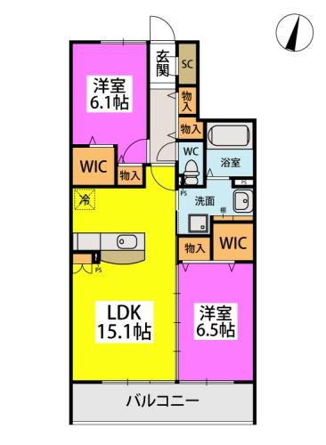 仮)日蒔野4丁目計画 / A-102号室間取り