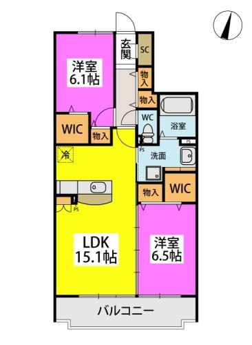 仮)日蒔野4丁目計画 / A-302号室間取り
