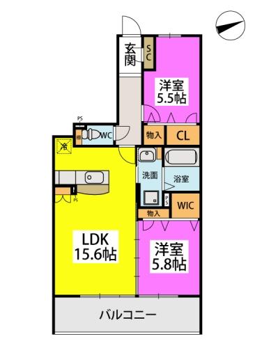 仮)日蒔野4丁目計画 / 2107号室間取り