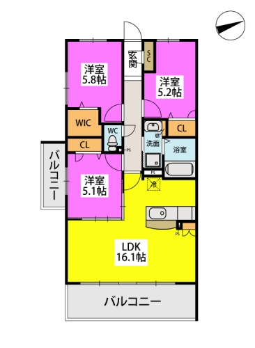 仮)日蒔野4丁目計画 / B-109号室間取り