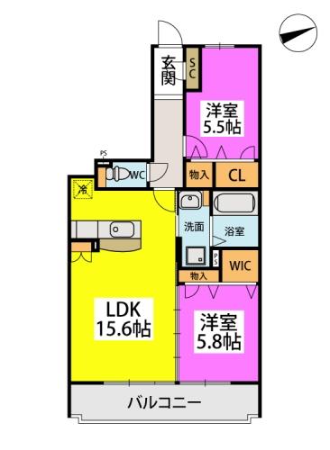 仮)日蒔野4丁目計画 / 2207号室間取り
