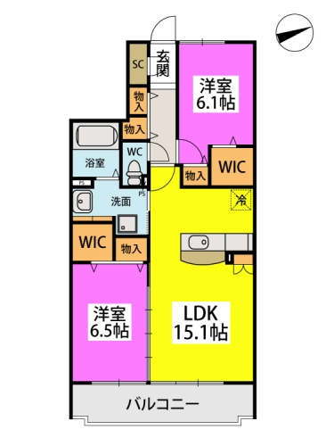 仮)日蒔野4丁目計画 / B-402号室間取り