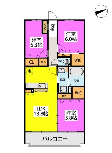 仮)日蒔野4丁目計画 / 2405号室間取り