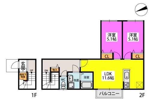 ウィル スクエア / D-2号室間取り