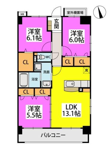 仮)下原4丁目マンション / 901号室間取り
