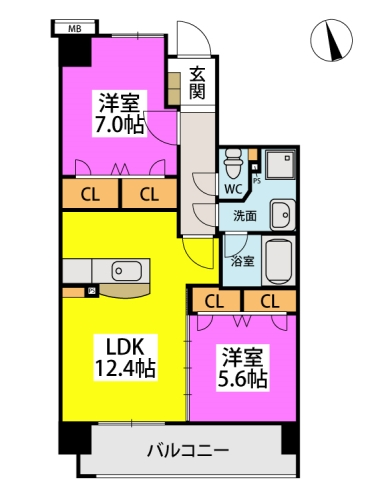 仮)下原4丁目マンション / 402号室間取り