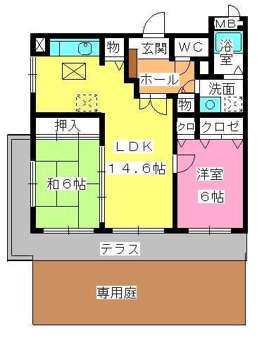 ピア白水ヶ丘 / 105号室間取り