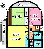 グランシャリオ21 / 206号室間取り