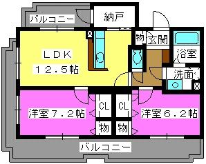 ラ・グラシューズ / 201号室間取り