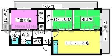 サンハイツ名宝 / 201号室間取り