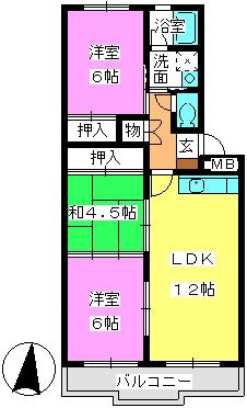 メゾン・ド・Fuji / 102号室間取り