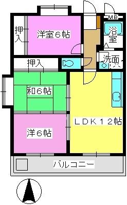 サンライズ那珂川 / 205号室間取り