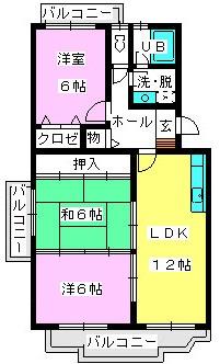 レジデンス渡邊Ⅱ / 202号室間取り