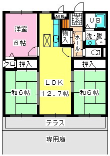 ロイヤルハイツ博多南 / 102号室間取り