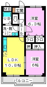 メゾンドソレイユ / 402号室間取り