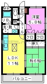 レジデンス渡邊Ⅲ / 101号室間取り