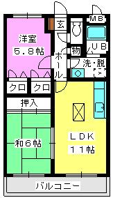 レジデンス渡邊Ⅲ / 102号室間取り