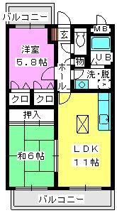 レジデンス渡邊Ⅲ / 103号室間取り