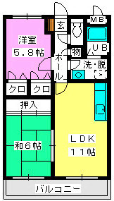 レジデンス渡邊Ⅲ / 202号室間取り