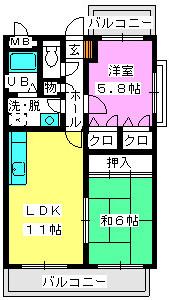 レジデンス渡邊Ⅲ / 301号室間取り