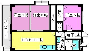 エントピア那珂川 / 301号室間取り