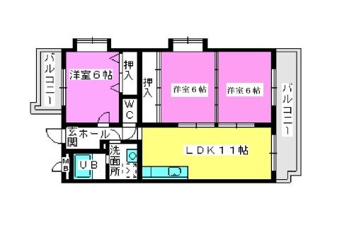 エントピア那珂川2 / 305号室間取り